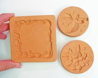 Group of 3 Cotton Press Molds 1995 1996 border angel flowers Vintage Mold for Cookie Mold, Paper Mold, Candy Molding, Paper Mache
