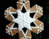 RESERVED for Lisa//Snowflake Cookie Christmas Ornament Glass Glittered Sparkly Gingerbread Winter OOAK Heirloom Gift Non-edible