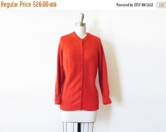 SALE vintage red cardigan, 70s red sweater, large red button up sweater