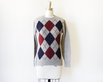 argyle sweater, vintage gray sweater, Scottish wool sweater, extra small