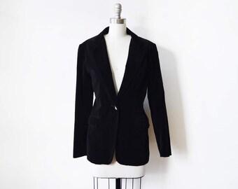 black velvet blazer, vintage 1980s black blazer, 80s blazer, large women's blazer