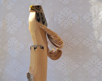 Traditional Japanese Sasano Bori/Vintage 1980s/Hand Carved Wood Hawk/Bird Totem Folk Art Carving