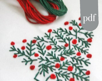 Christmas Crewel Embroidery Kit  DIY Pattern pdf  Christmas Tree Pine Tree  in Red and Green digital download tutorial