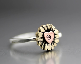 Yellow Sunflower Ring, Flower Ring, Sunflower Stack Ring, Heart Ring, Sterling Ring, Silver Ring, Yellow Sunflower Ring, Love Ring