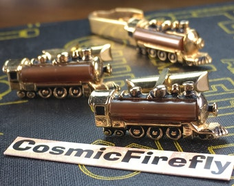 Men's Vintage Cufflinks Antique Gold Plated Steam Train Cufflinks Made In USA SWANK Brand Cufflinks Steampunk Cufflinks