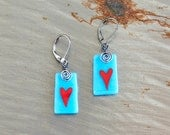 Red Heart Whimsical Love Painted Fused Glass Earrings in Turquoise