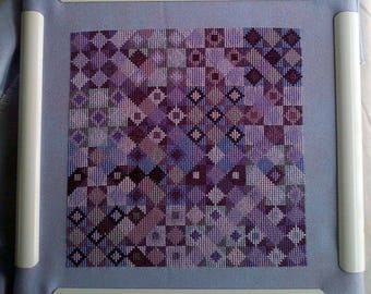 Grape Seeds, Texas Star Quilt Block Inspired cross stitch, PDF Download