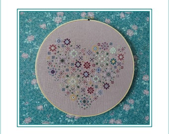 My Heart Is Filled With Flowers, Cross Stitch PDF Pattern, Carolyn Manning Designs