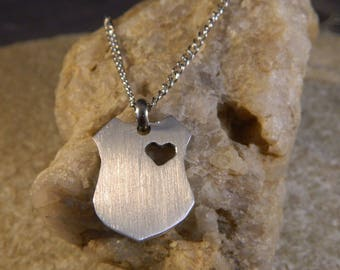 My Heart Belongs to a Police Officer Shield with Heart Cut out Aluminum Necklace