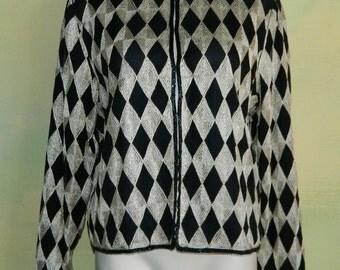 L 80s Lawrence Kazar Silk Evening Jacket Black and Gold Metallic Harlequin Diamond Design Trimmed in Beads Op Art Formal Crop Jacket