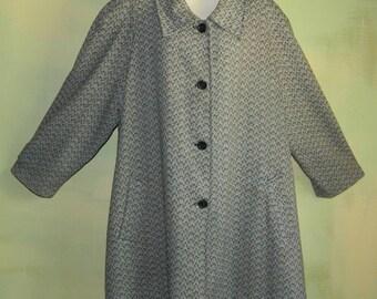 50s 4X Womans Plus Size Swing Coat Salt and Pepper Gray Herringbone Tweed Winter Wool Swing Coat