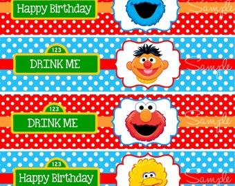 Sesame Street Water Bottle Labels,Sesame Street Birthday Party, Elmo Birthday Party, Digital Sesame Street Labels, INSTANT DOWNLOAD