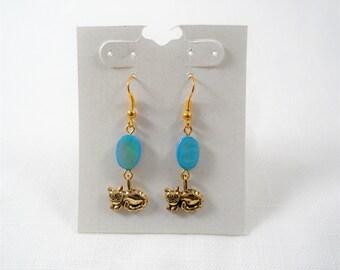 Gold Tone Turquoise Color Bead Cat Dangle Handmade Earrings