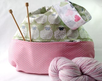 Knit Crochet Project Bag zippered pocket - Japanese Knot WIP Bag knitting crochet - pink green sheep knittng fabric  - free knitting pattern