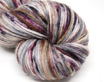 "Indie Rock Worsted Yarn - ""Whiskey and Wine"" - Handpainted Superwash Merino - 218 yards"