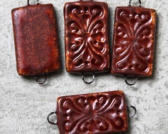 Rustic Rust Colored Elegant Tile Connectors (2 pc.) - 1 to 1 Loop Connectors
