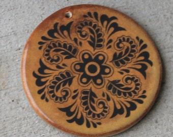 "Rustic Fern Circle - Ceramic Circle Focal Pendant - Almost 2"""