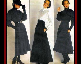 Vintage 1980s-PERRY ELLIS ORIGINAL-Evening  Length Skirt Trio-Vogue Designer Sewing Pattern-Gored-Flared-Shaped Midriff-Uncut-Size 6-Rare