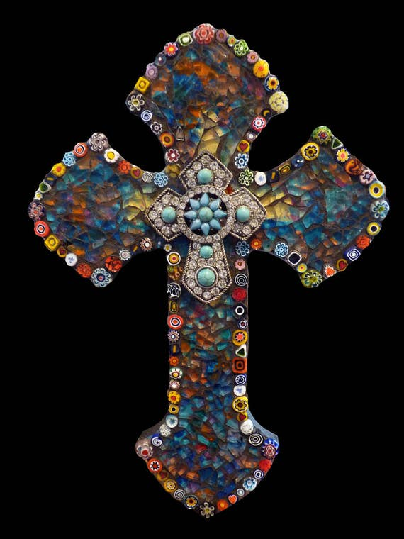Mosaic Glass Cross with Italian Millefiori, Rhinestone and Faux Turquoise Cross Focal