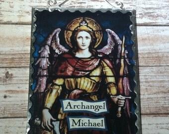 Archangel Michael Wall Plaque Soldered Flat Glass Altar Decor Ornament