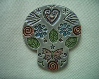ANGEL - Intricate SUGAR SKULL - Ceramic Mosaic Tiles