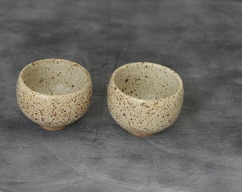 Wheel Thrown shallow White Speckled  2 small ice cream Bowls