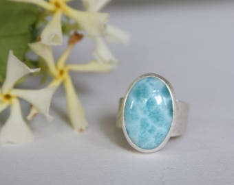 AAA Larimar Ring, Blue Gemstone Ring, Turtleback Larimar Oval Sterling Silver Wide band Ring