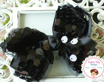 Winter Sale--NEW---Boutique Large Hair Bow Clip---Black---Sequins & Tulle---Ready to Ship