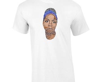 Nina Simone Lyrical Calligram Memorial T-Shirt
