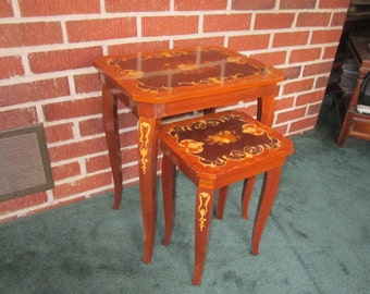 Vintage Gorgeous Set of 2 Faux Italian Marquetry Wood Tables