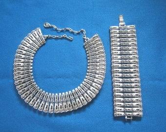 Vintage Chunky Modernist Silvertone Link Choker Necklace and Matching Bracelet