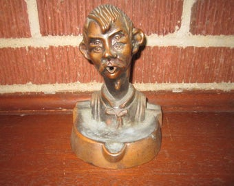 Vintage Cast Metal Funny Figural Man Ashtray with Unique Feature