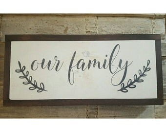 Our Family Sign, Gallery Wall Sign, Primitive Signs, Fixer Upper Style, Farmhouse Sign, Cottage Decor, Framed Sign, Family Sign Home Decor