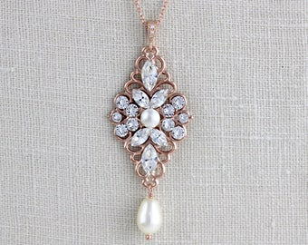 Rose gold Necklace, Crystal Bridal necklace, Bridal jewelry, Wedding necklace, Pearl necklace, Swarovski crystal necklace, Vintage style