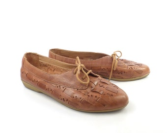 Brown Woven Shoes Vintage 1980s Leather Huaraches Women's size 8 W