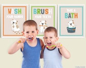 set of three 8x10 inch bathroom kid's art prints Wash your hands, brush your teeth, take a bath, english bulldog graphic typography prints