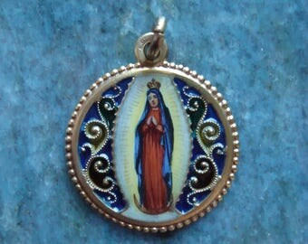 French Antique GOLD fix Multi Color Plique-a-Jour Enamel Hand Painted Our Lady of Guadalupe Medal Pendant Catholic Religious