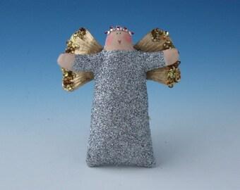 Angel Doll, Angel Ornament, Silver Sparkly Angel