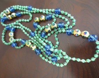 Antique Peacock Foil Venetian Art Glass Long Necklace Green Blue Art Deco Jewelry