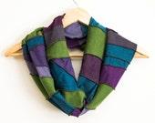 READY TO SHIP - Free Form Infinity Scarf - Eco Accessory - Made from Organic Fabrics - Jewel Tones - One of a Kind - Gift - Boho