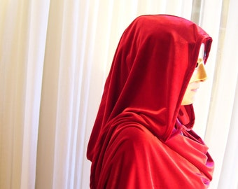 Red velvet cloak - full oval - YOUR LENGTH