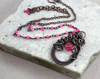 Pink Antique Copper Wire Wrapped Pendant Necklace, Hot Pink, Beaded Chain, Adjustable, Canada, Handcrafted, Abstract, Modern, Whimsical