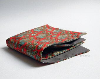 Pocket square double sided - Paisley pocket square - Reversible Handkerchief -  Made in Italy -  Red - Taupe