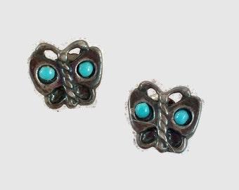 Butterfly Earrings, Turquoise Earrings, Stud Posts, Sterling Silver, Pierced, Vintage Earrings, Boho Bohemian, Southwestern Jewelry