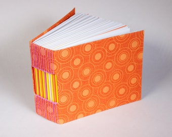 Bitty Blank Journal with a Page for Every Day of the Year, 365 Pages with a T Bright Orage Fabric Cover and a Sunshine Spirit