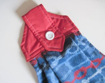 Hanging kitchen towel  button top  cotton  top  nautical rope red white and blue towel Quiltsy handmade
