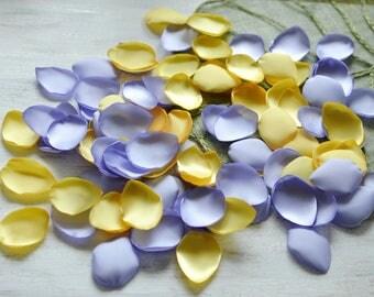 Satin leaf appliques, rose petals, fabric embellishments, fabric petals, wedding silk petals, silk petals bulk (50pcs)- LAVENDER and YELLOW