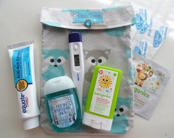Aqua Fox Ouch Pouch Medium 5x7 Clear First Aid Organizer Toddler Girl Baby Diaper Bag Supplies Overnights Spring Break Bag