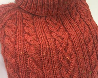 READY TO SHIP        Handmade Knit Men's Aran Cable Sweater/Paprika Tweed/Wool/Turtleneck          Size XLarge