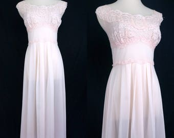 1960s Pink Chiffon Nylon Nightgown Goddess NIghtie Maxi Lace Negligee Vanity Fair Medium